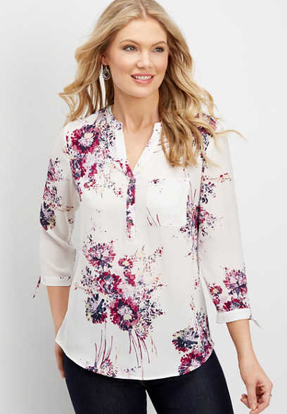 floral watercolor tie sleeve blouse