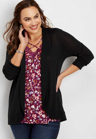 plus size solid cocoon cardigan