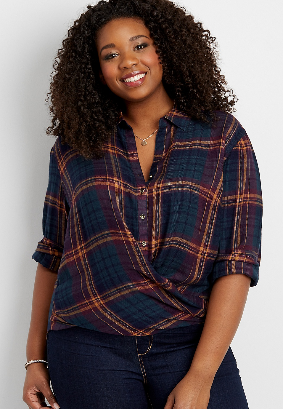 a1ea437f plus size wrap front plaid shirt | maurices
