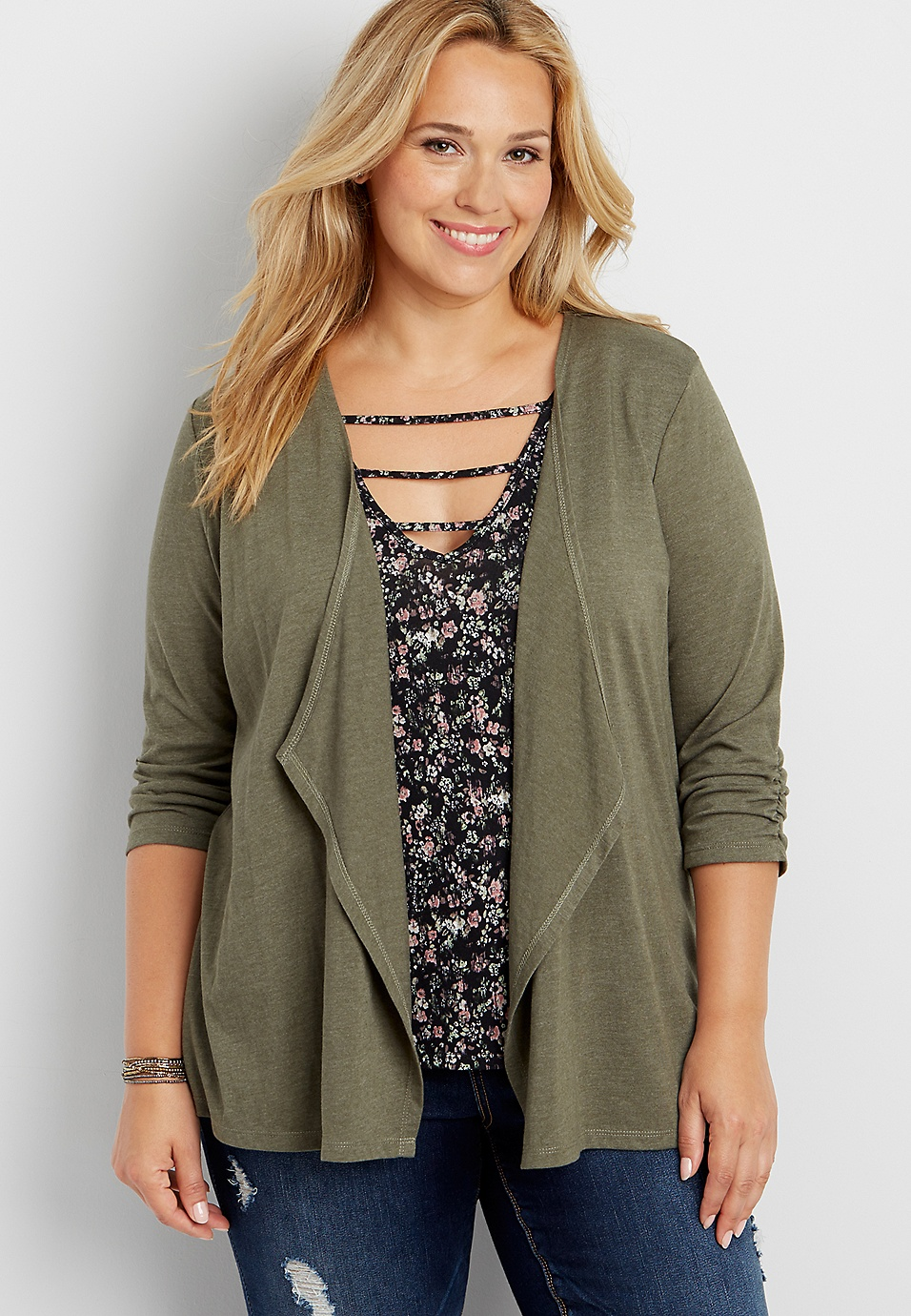 Plus Size - Lace Up Back Open Stitch Cardigan Maurices Wide Range Of Cheap Price Discount Best Wholesale XTT37WRx