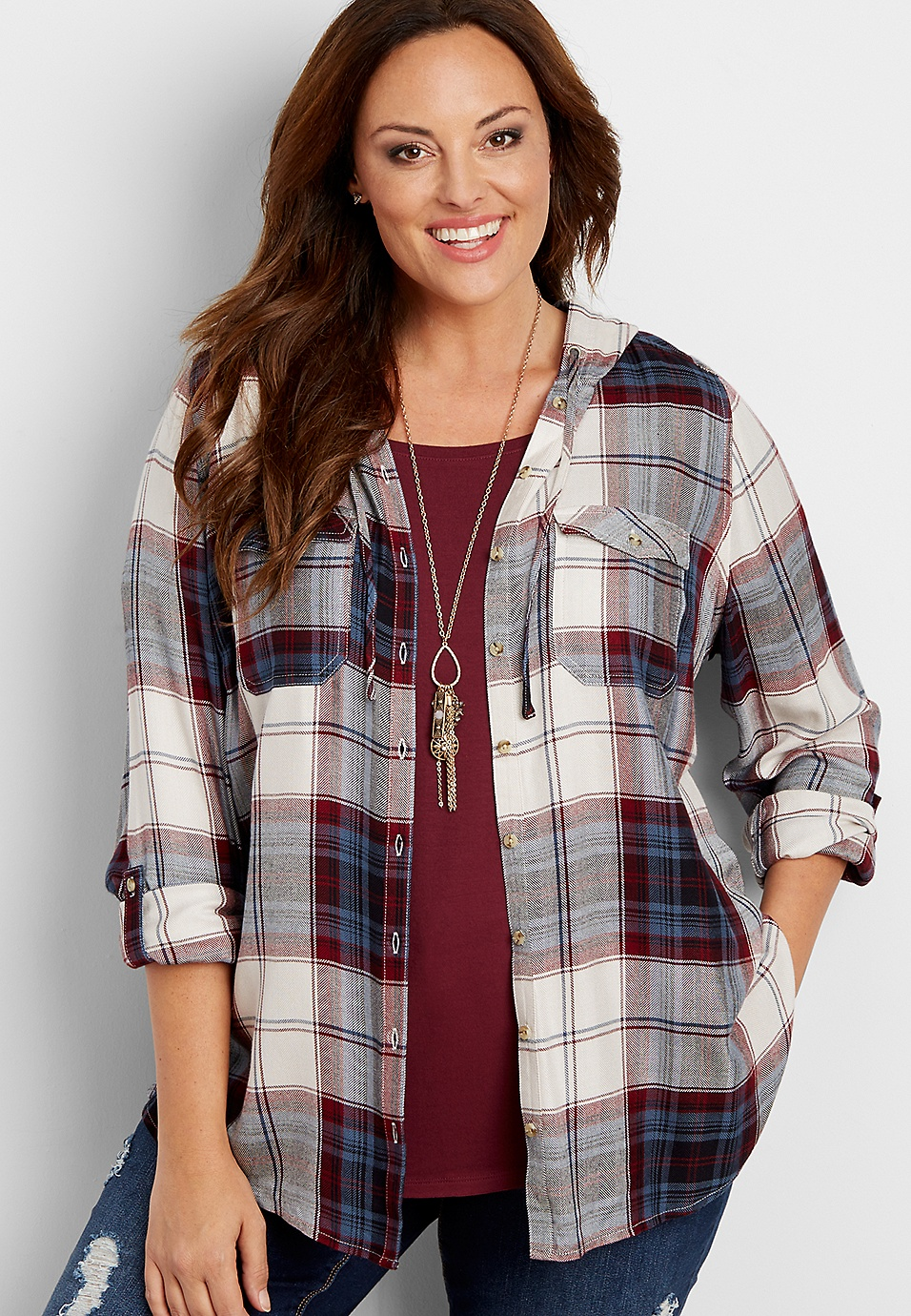 00a59e515fb plus size button down hooded plaid tunic shirt | maurices