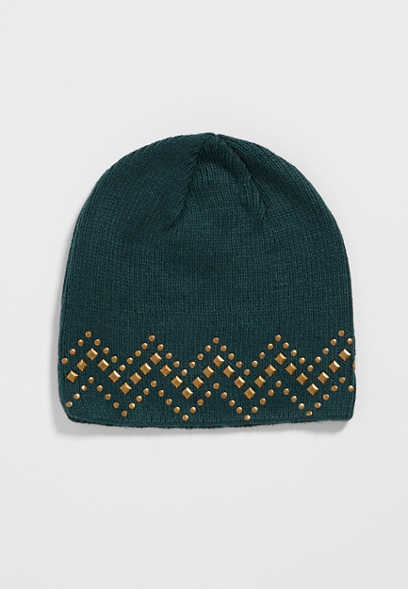 knit beanie with chevron patterned embellishments