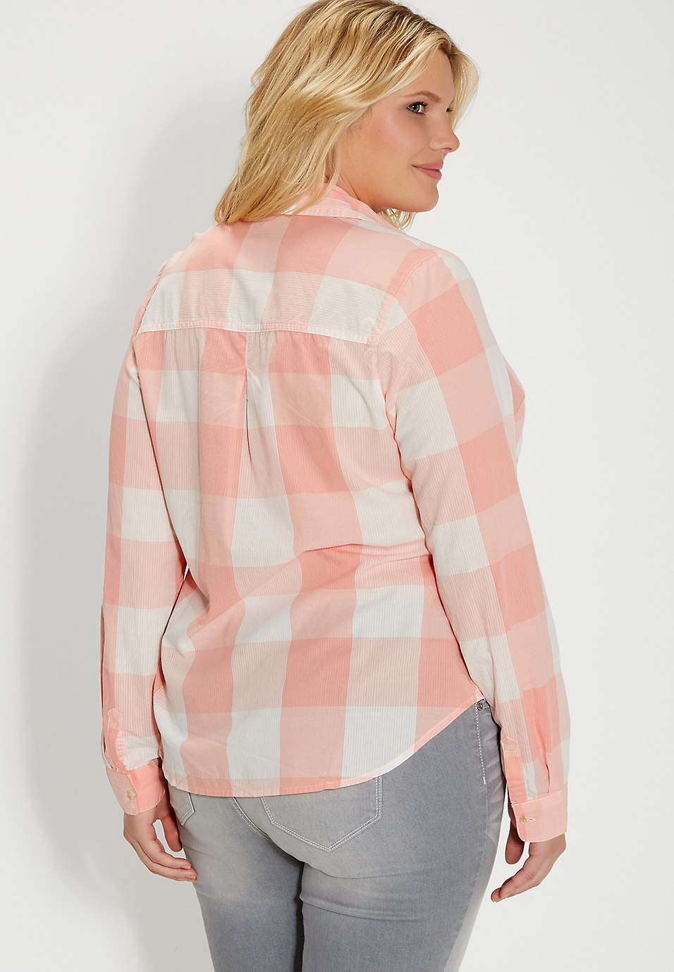 03a01c6ac01 plus size button down buffalo plaid shirt in apricot haze