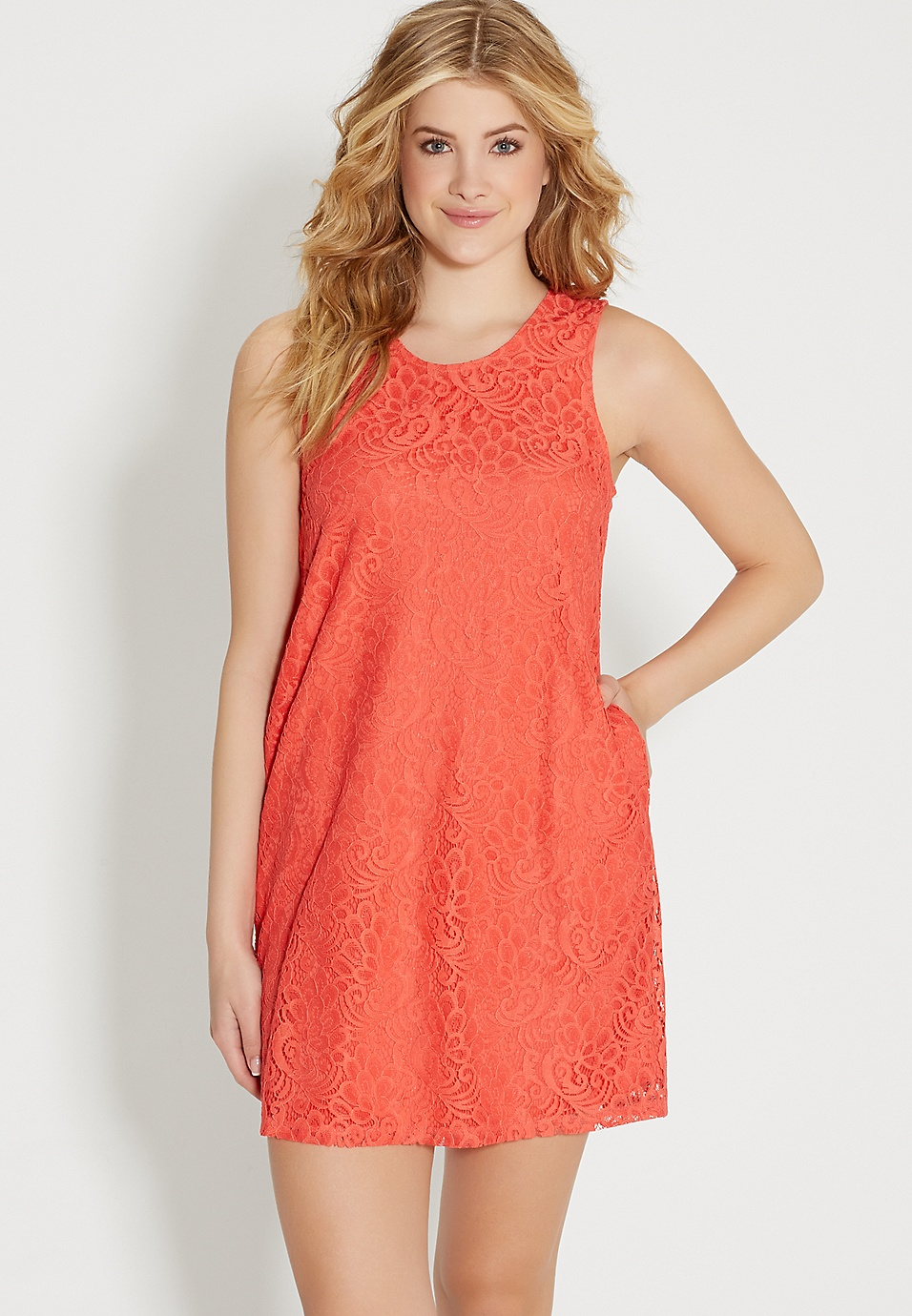 335042ea92e0 lace shift dress in coral pop | maurices