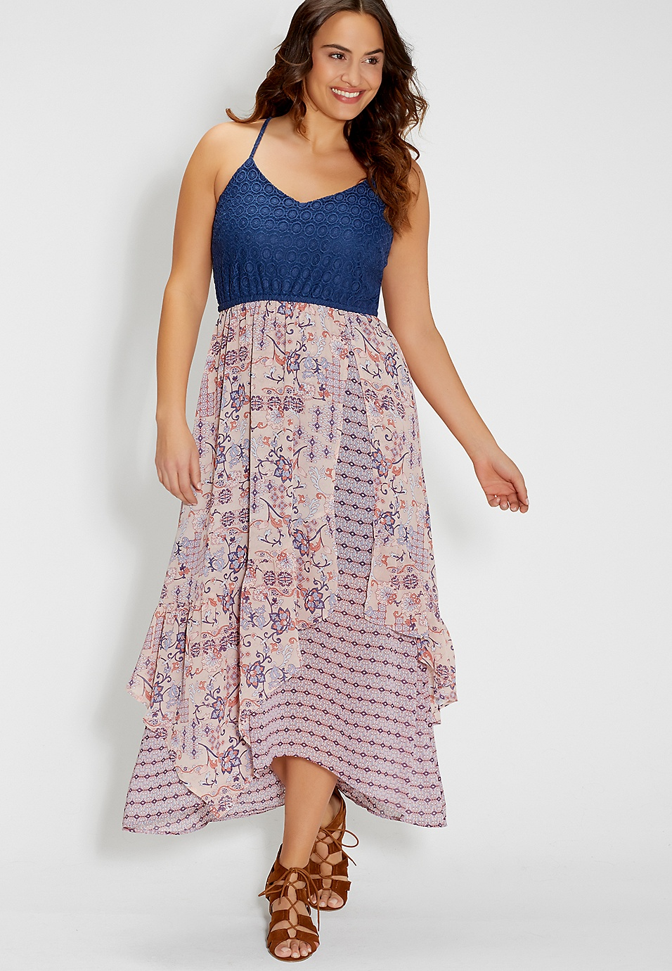 plus size dress with layered floral patterned skirt