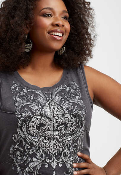 plus size fleur-de-lis embellished graphic tank