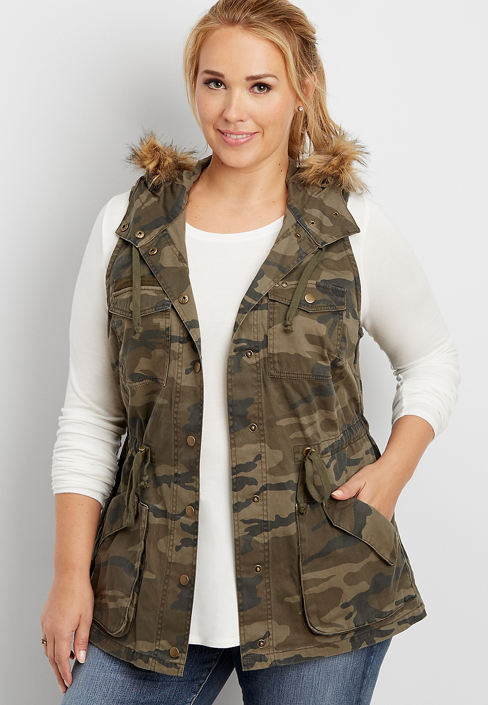 5cdea53741 plus size camo anorak vest with faux fur trimmed hood