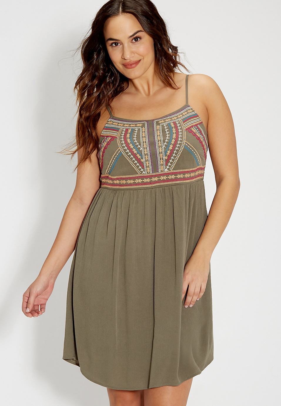 plus size olive green dress with embroidery | maurices