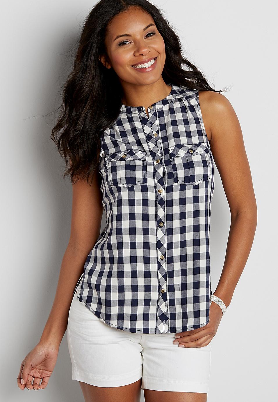 c83443e1 sleeveless button down gingham shirt | maurices