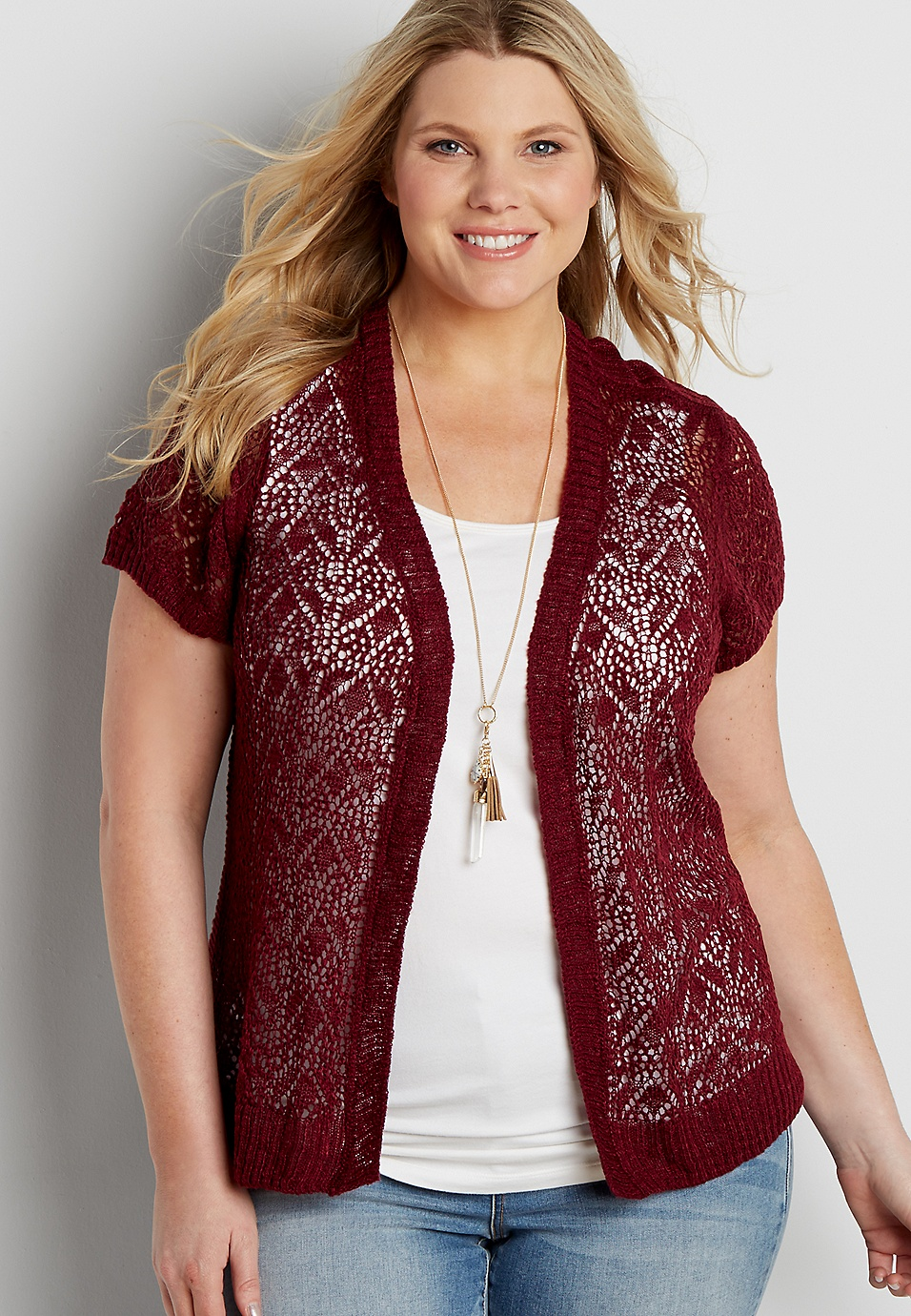 f5a7a66c9b1 plus size pointelle stitched short sleeve cardigan