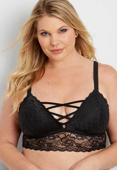 plus size floral lace bralette with strappy front