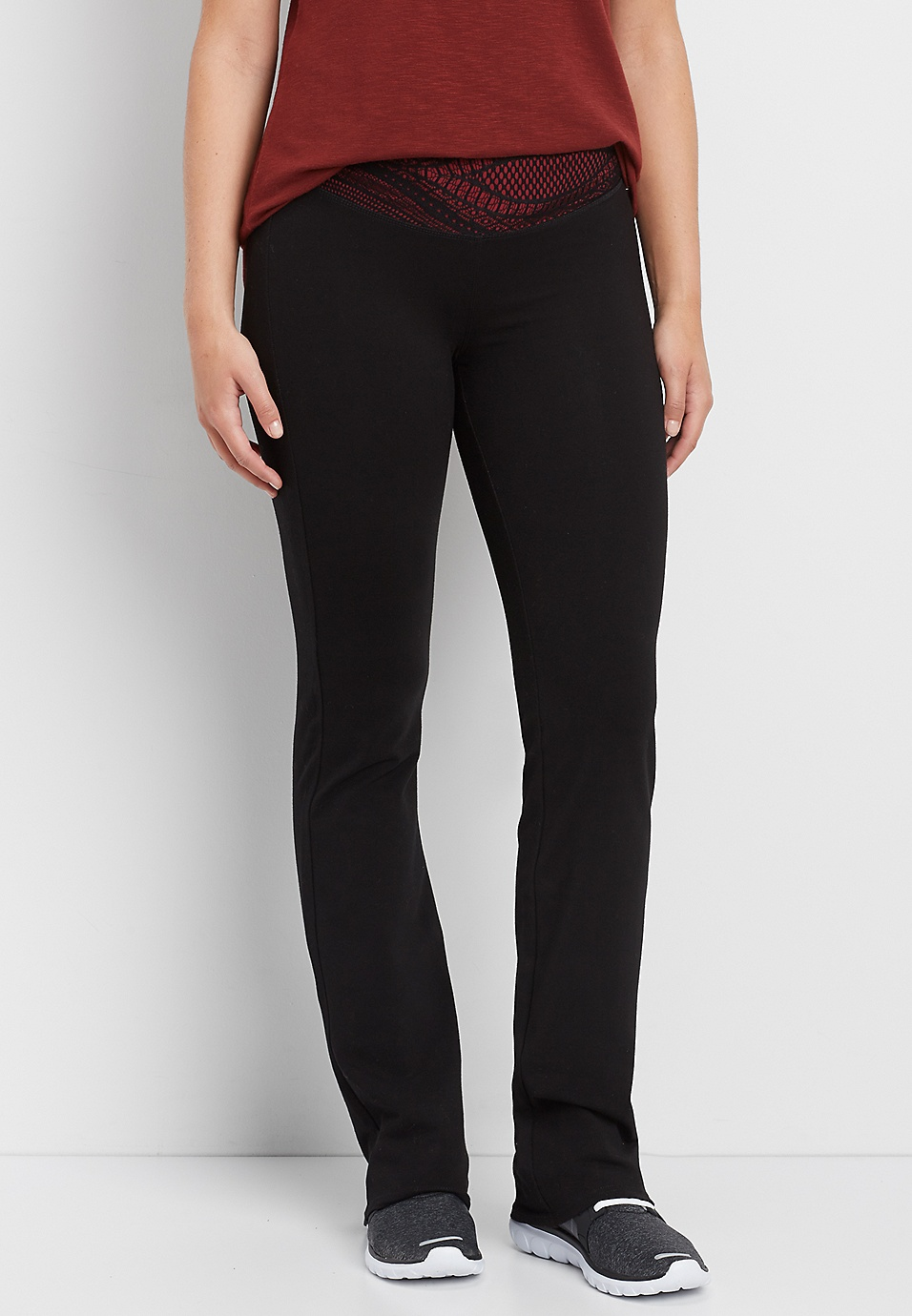 5a9b54f514 bootcut yoga pant with lace waistband | maurices