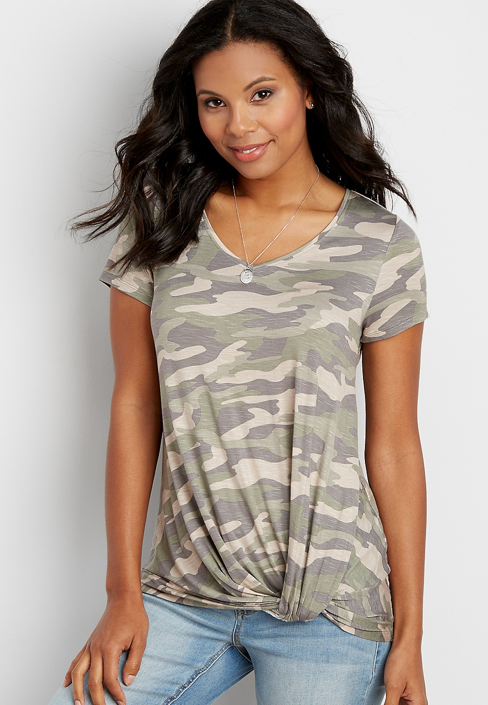 694e0d153 the 24/7 camo tee with knot hem | maurices