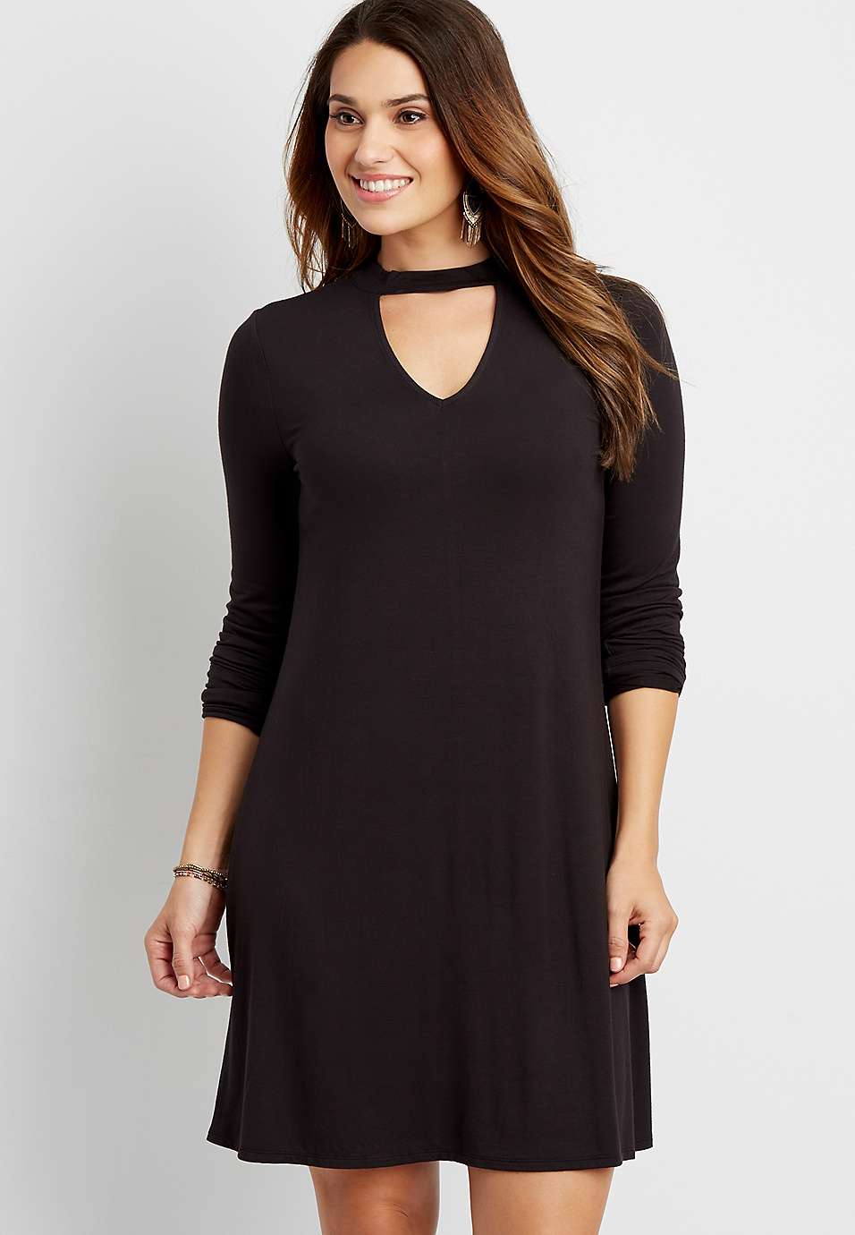 24822fad the 24/7 long sleeve t-shirt dress with choker neckline | maurices
