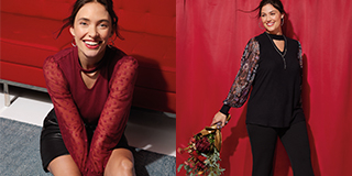 One image of a sitting woman wearing a red shirt, another image of a standing woman wearing a black shirt with patterned sleeves.