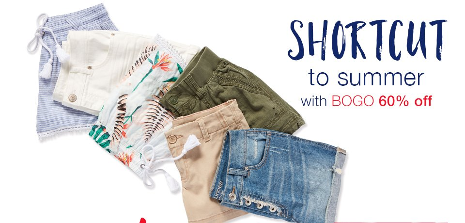 shortcut to summer with bogo 60% off