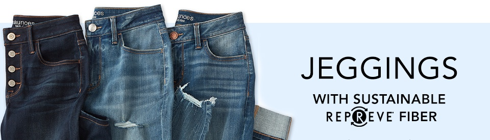 jeggings with sustainable repreve fiber. super soft recycled fabric ups the feel-good factor of your favorite jeggings.