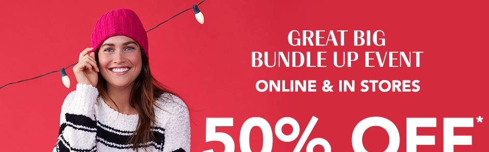 great big bundle up event, 50% off all sweaters and sweatshirts (includes hats and scarves)
