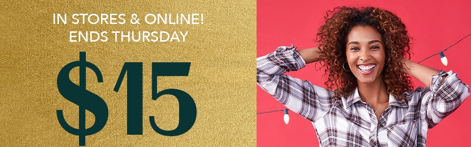 in stores and online! ends thursday. $15 plaids (reg. price $29, plus $34)