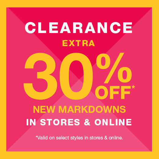 clearance 30% off  clearance styles in stores and online 8f21652233bd8