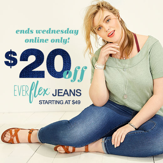 5b5cd7366335b ends wednesday online only!  20 off everflex jeans starting at  49