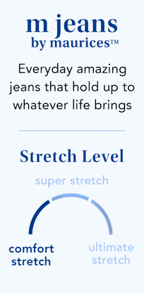 mjeans by maurices. everyday amazing jeans that hold up to whatever life brings. stretch level: comfort stretch.