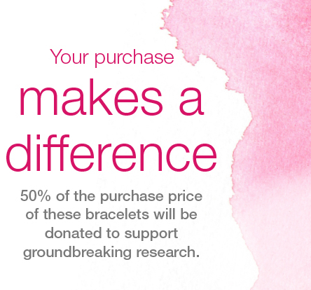 your purchase makes a difference, 50% off the purchase price of these bracelets will be donated to support groundbreaking research